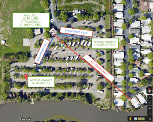Google Satellite Photo of Sac West RV & Camp Ground Serviced by Adapt Technology Inc. in Sacramento, CA 95825.